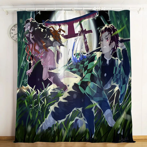 Demon Slayer Kimetsu no Yaiba #4 Blackout Curtains For Window Treatment Set For Living Room Bedroom