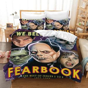 FearBook Horror Movie #8 Duvet Cover Quilt Cover Pillowcase Bedding Set Bed Linen Home Decor