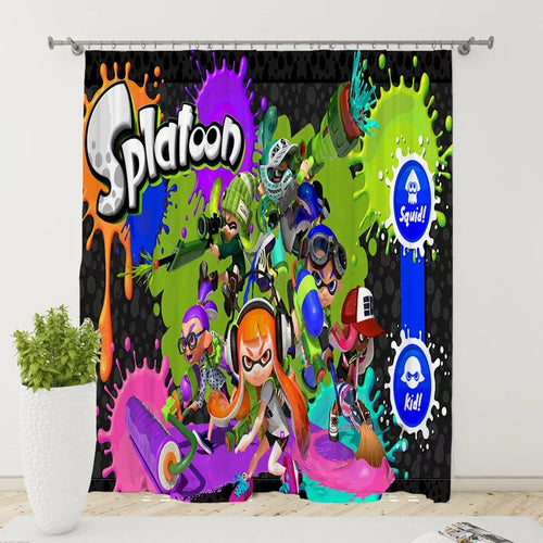 Splatoon #9 Blackout Curtains For Window Treatment Set For Living Room Bedroom