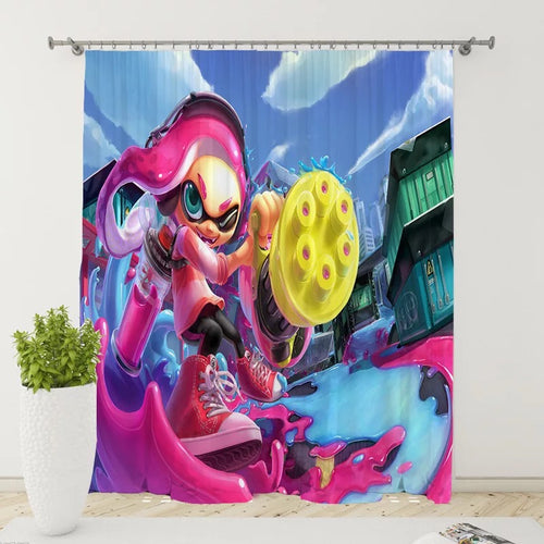 Splatoon #10 Blackout Curtains For Window Treatment Set For Living Room Bedroom