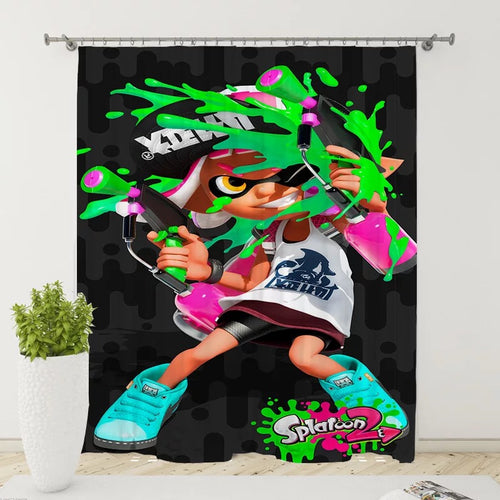 Splatoon #13 Blackout Curtains For Window Treatment Set For Living Room Bedroom