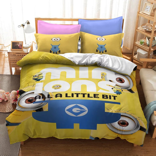 Despicable Me Minions #15 Duvet Cover Quilt Cover Pillowcase Bedding Set Bed Linen Home Decor