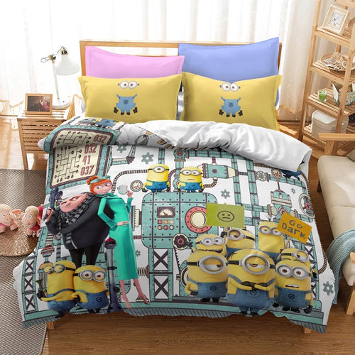 Despicable Me Minions #22 Duvet Cover Quilt Cover Pillowcase Bedding Set Bed Linen Home Decor