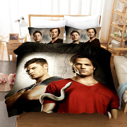 Supernatural Dean Sam Winchester #2 Duvet Cover Quilt Cover Pillowcase Bedding Set Bed Linen Home Decor