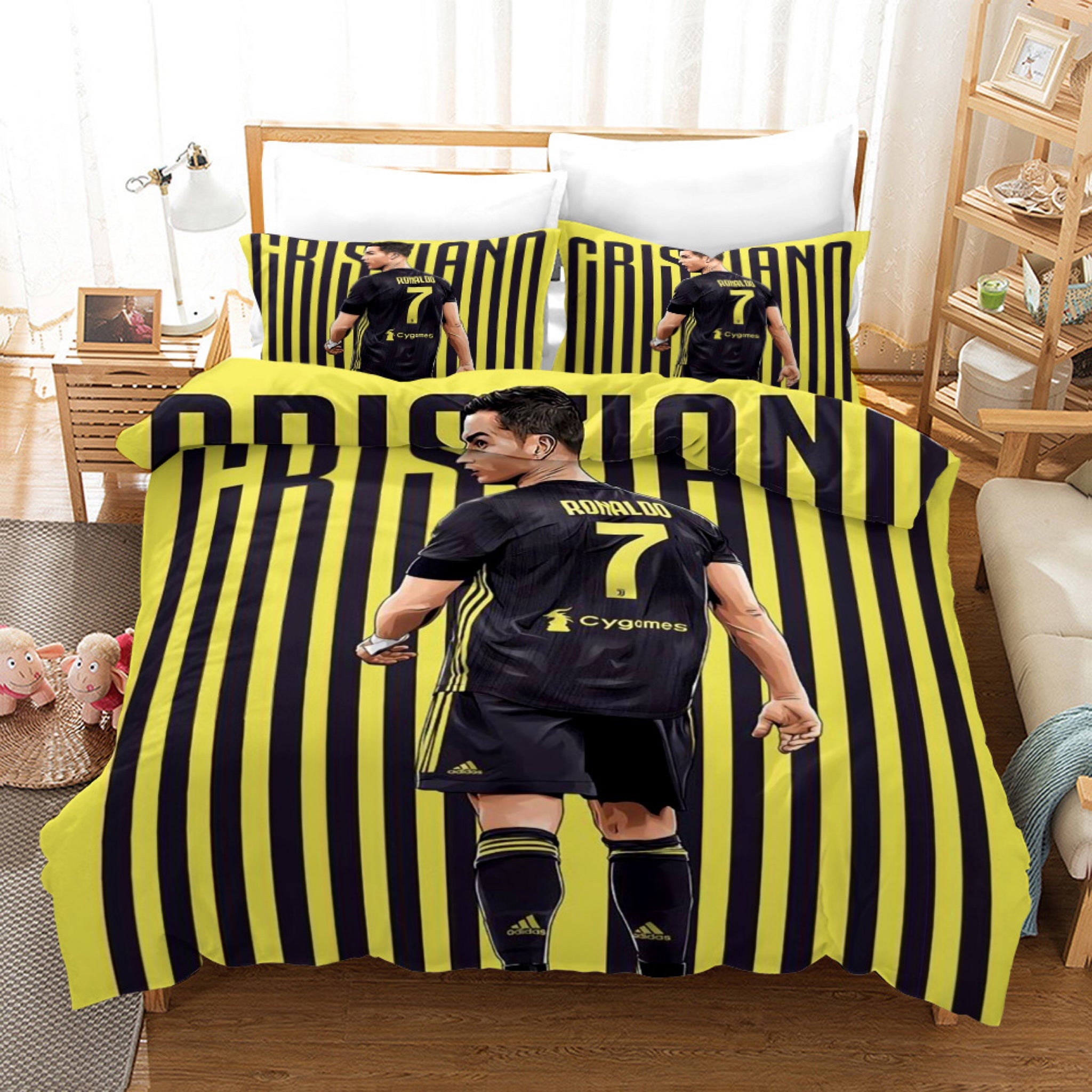 Cr7 Ronaldo Juventus Forza Soccer 2 Duvet Cover Quilt Cover Pillowcas Bedding Picky