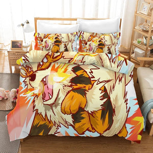 Pokemon Pikachu Arcanine #13 Duvet Cover Quilt Cover Pillowcase Bedding Set Bed Linen Home Bedroom Decor