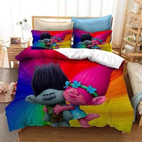 Trolls Poppy #3 Duvet Cover Quilt Cover Pillowcase Bedding Set Bed Linen Home Bedroom Decor