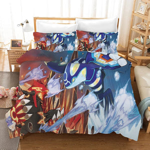 Pokemon Pikachu Groudon vs Kyogre #30 Duvet Cover Quilt Cover Pillowcase Bedding Set Bed Linen Home Bedroom Decor