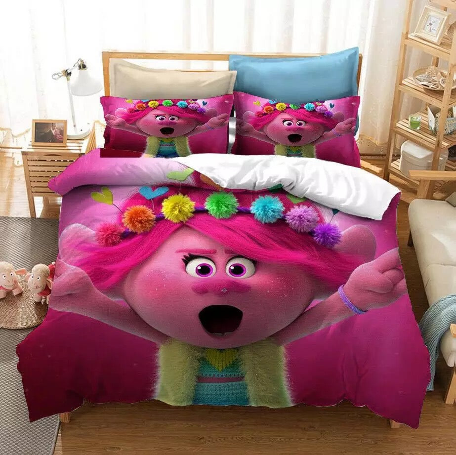 Trolls Poppy #6 Duvet Cover Quilt Cover Pillowcase Bedding Set Bed Linen Home Bedroom Decor