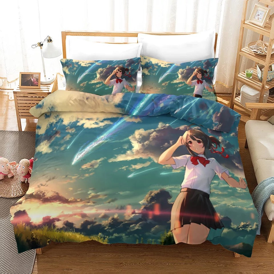 Your Name Kimi no na wa Makoto Shinkai #9 Duvet Cover Quilt Cover Pillowcase Bedding Set Bed Linen Home Bedroom Decor