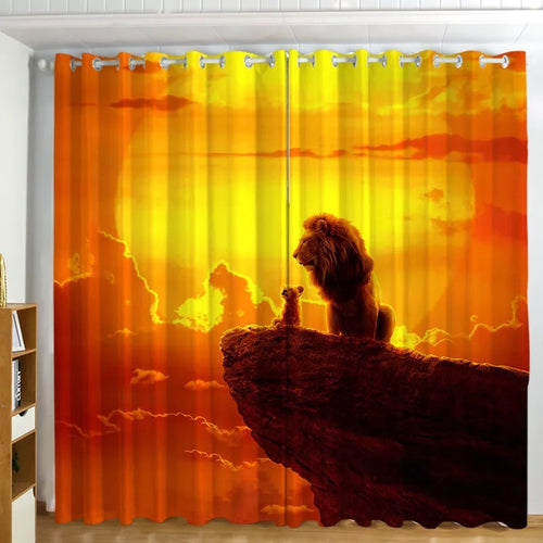 The Lion King Simba #6 Blackout Curtains For Window Treatment Set For Living Room Bedroom