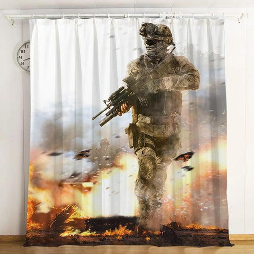 Call Of Duty #1 Blackout Curtains For Window Treatment Set For Living Room Bedroom