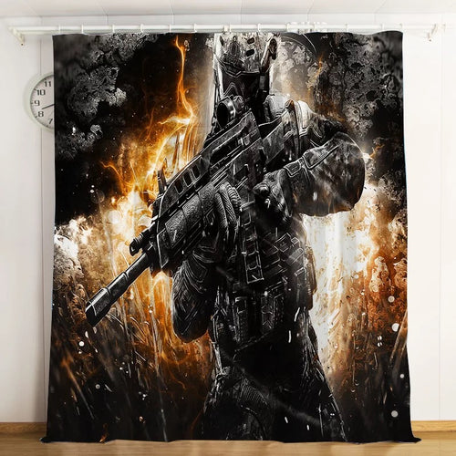 Call Of Duty #2 Blackout Curtains For Window Treatment Set For Living Room Bedroom