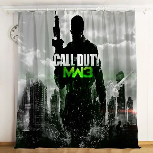 Call Of Duty #3 Blackout Curtains For Window Treatment Set For Living Room Bedroom