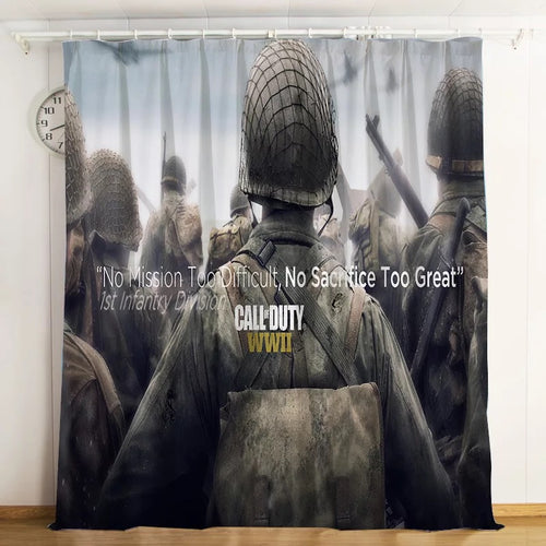 Call Of Duty #6 Blackout Curtains For Window Treatment Set For Living Room Bedroom