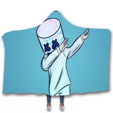 Load image into Gallery viewer, Fortnite Marshmello DJ #7 Hooded Blanket Super Soft Cozy Sherpa Fleece Throw Blanket for Men Boys