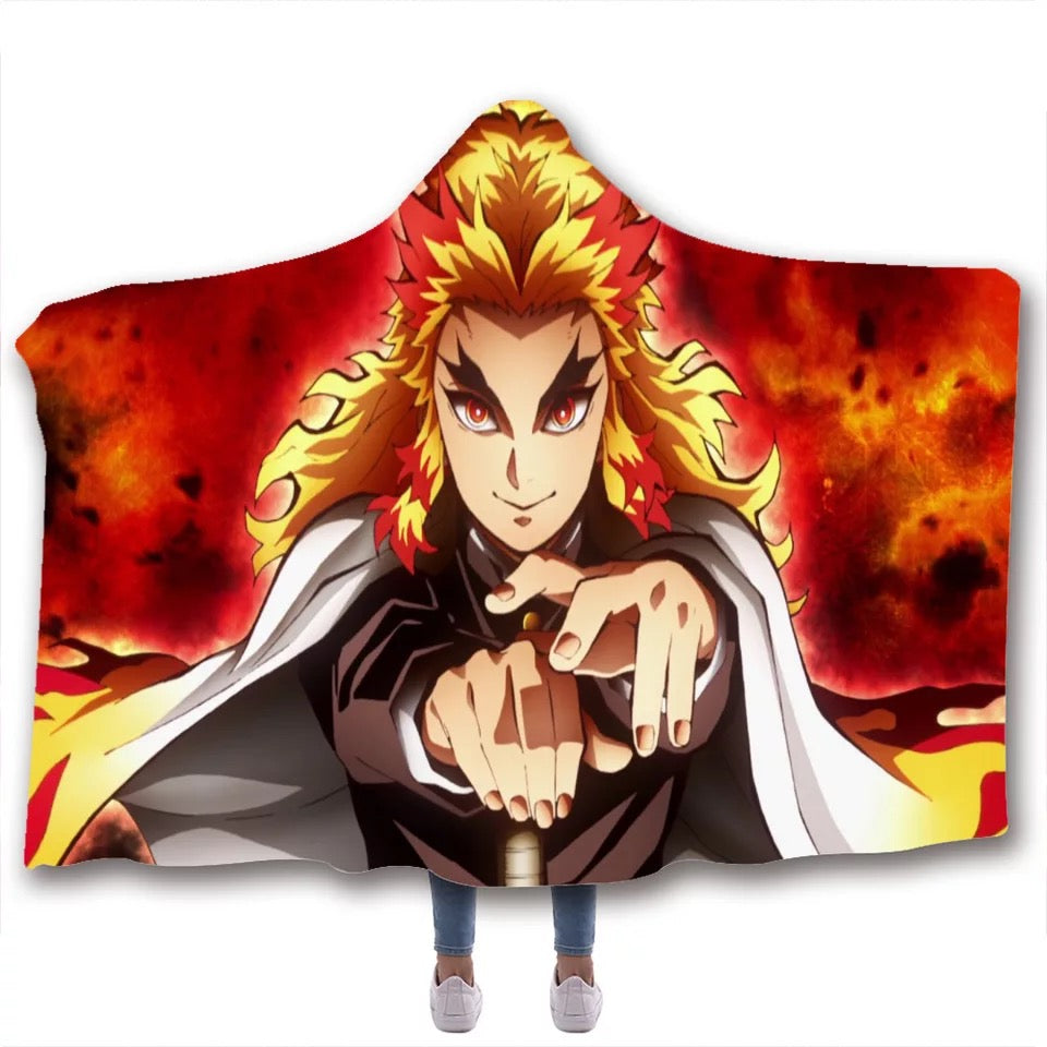 Demon Slayer Kimetsu no Yaiba #8 Hooded Blanket Super Soft Cozy Sherpa Fleece Throw Blanket for Men Boys