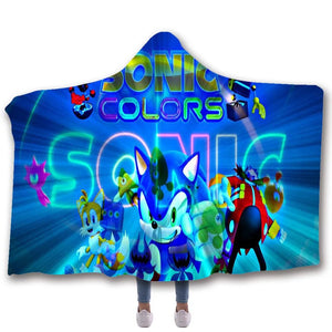 Sonic The Hedgehog #4 Hooded Blanket Super Soft Cozy Sherpa Fleece Throw Blanket for Men Boys