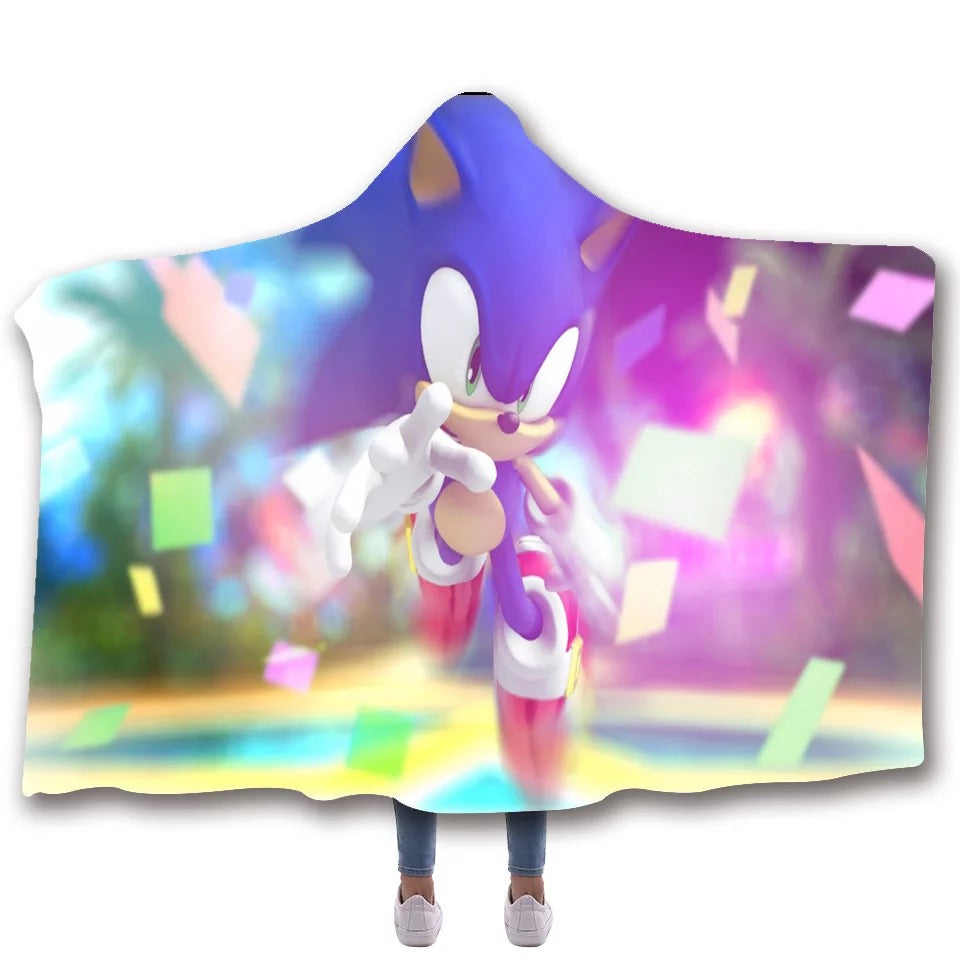 Sonic The Hedgehog #9 Hooded Blanket Super Soft Cozy Sherpa Fleece Throw Blanket for Men Boys