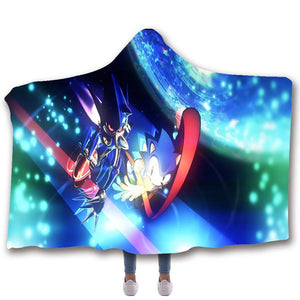 Sonic The Hedgehog #10 Hooded Blanket Super Soft Cozy Sherpa Fleece Throw Blanket for Men Boys