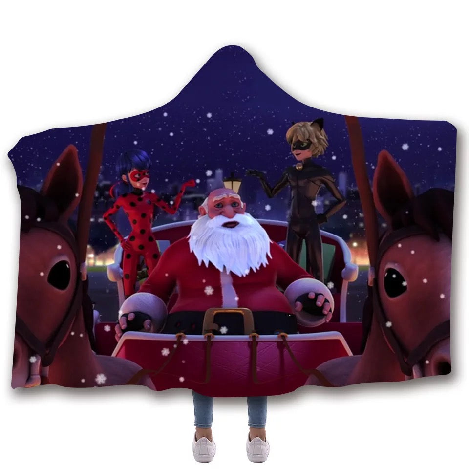 Miraculous Ladybug Cat Noir Christmas #4 Hooded Blanket Super Soft Cozy Sherpa Fleece Throw Blanket for Men Boys