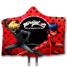 Load image into Gallery viewer, Miraculous Ladybug Cat Noir Christmas #5 Hooded Blanket Super Soft Cozy Sherpa Fleece Throw Blanket for Men Boys