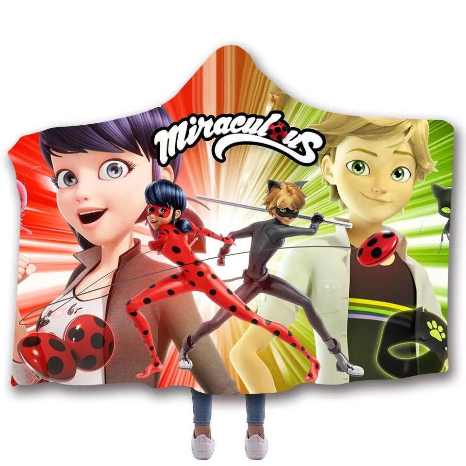 Miraculous Ladybug Cat Noir Christmas #9 Hooded Blanket Super Soft Cozy Sherpa Fleece Throw Blanket for Men Boys