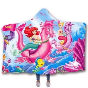The Little Mermaid #3 Hooded Blanket Super Soft Cozy Sherpa Fleece Throw Blanket for Men Boys