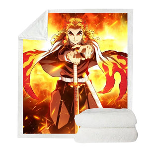 Demon Slayer Kimetsu no Yaiba #20 Blanket Super Soft Cozy Sherpa Fleece Throw Blanket for Men Boys