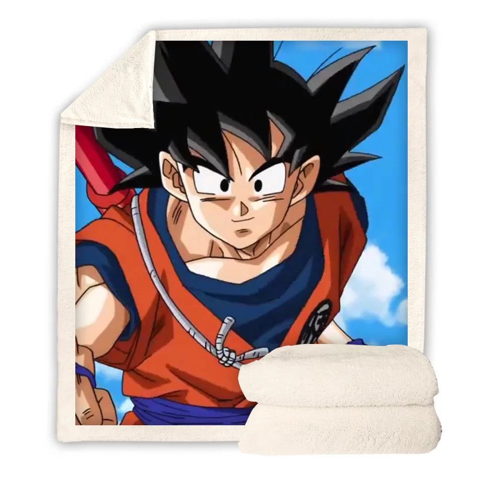 Dragon Ball Z Son Goku #2 Blanket Super Soft Cozy Sherpa Fleece Throw Blanket for Men Boys