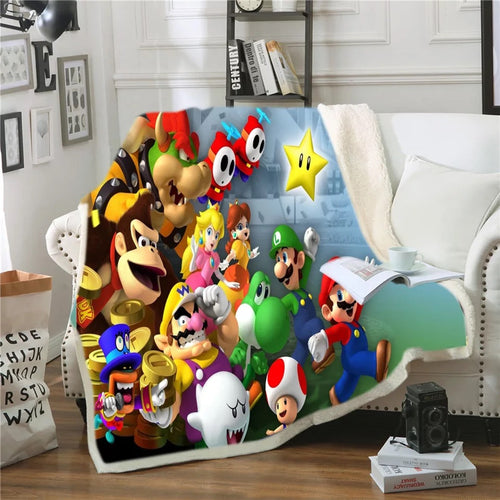 Super Mario Bros #7 Blanket Super Soft Cozy Sherpa Fleece Throw Blanket for Men Boys