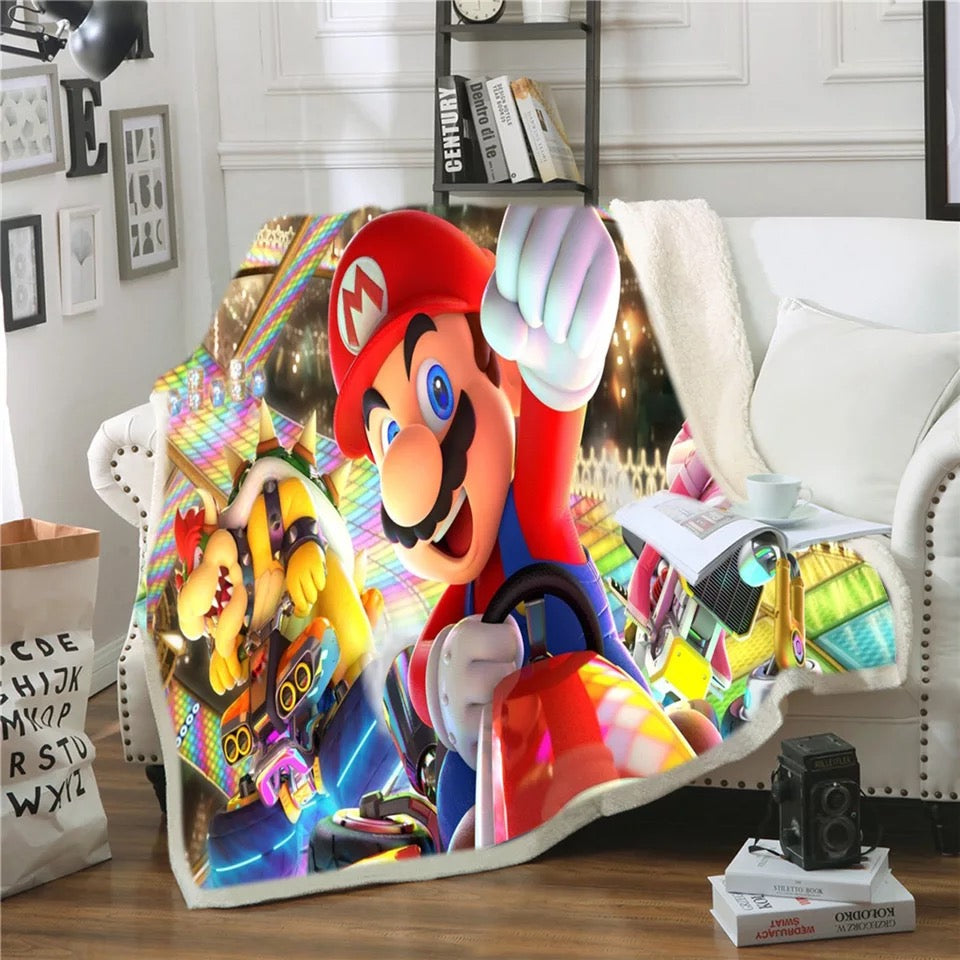 Super Mario Bros #8 Blanket Super Soft Cozy Sherpa Fleece Throw Blanket for Men Boys