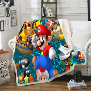 Super Mario Bros #12 Blanket Super Soft Cozy Sherpa Fleece Throw Blanket for Men Boys