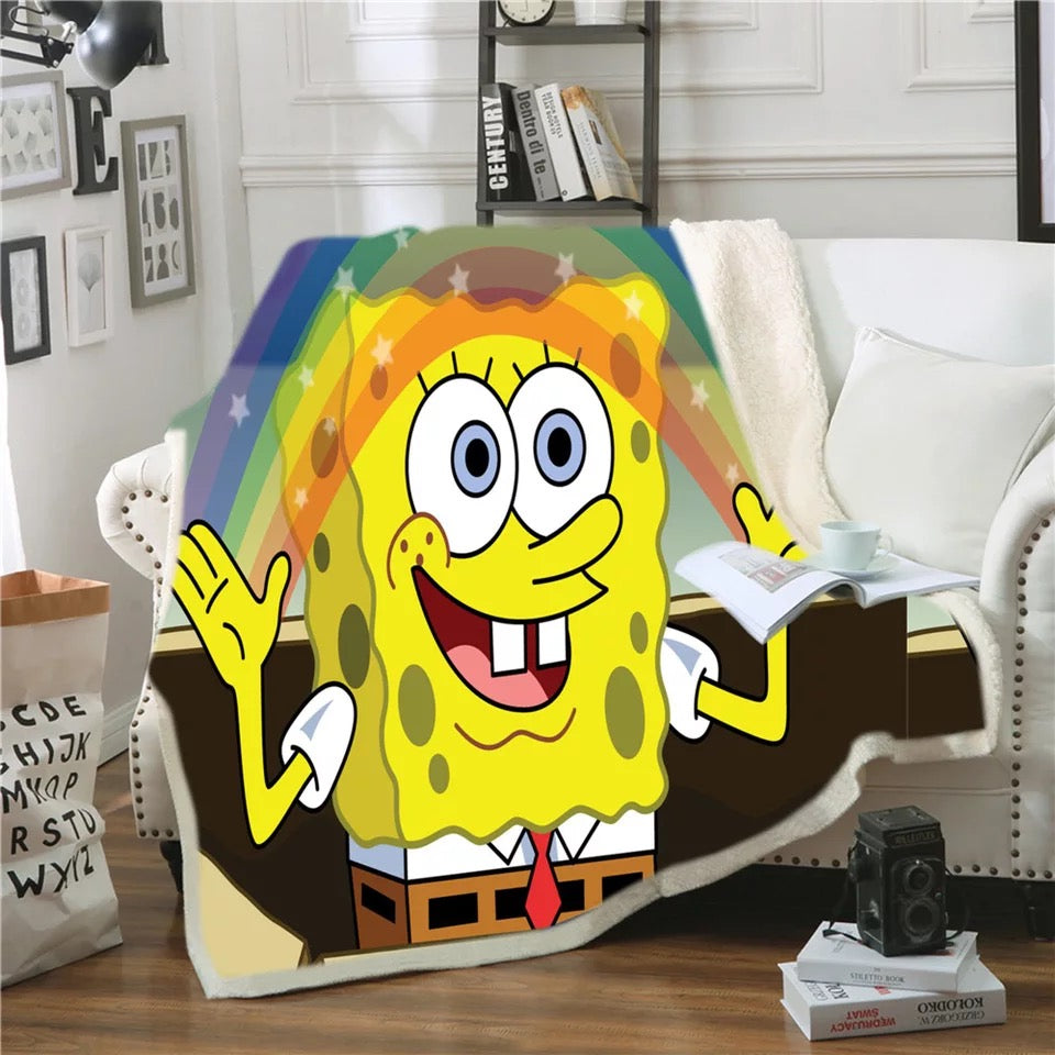 SpongeBob SquarePants #9 Blanket Super Soft Cozy Sherpa Fleece Throw Blanket for Men Boys