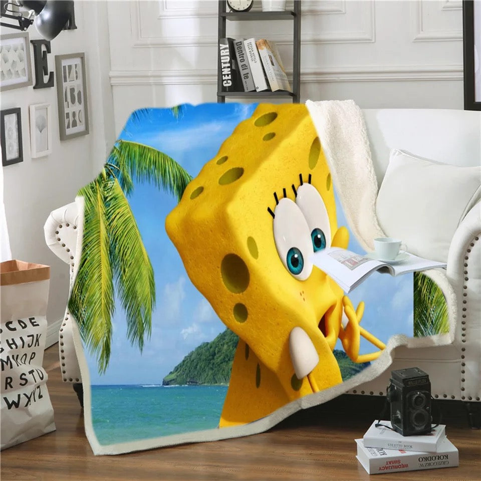 SpongeBob SquarePants #11 Blanket Super Soft Cozy Sherpa Fleece Throw Blanket for Men Boys