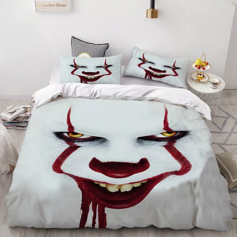 Stephen King IT Chapter Two 2 Pennywise Scary Clown #16 Duvet Cover Quilt Cover Pillowcase Bedding Set Bed Linen