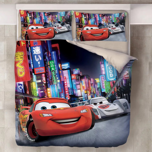Movie Cars Lightning McQueen #13 Duvet Cover Quilt Cover Pillowcase Bedding Set Bed Line