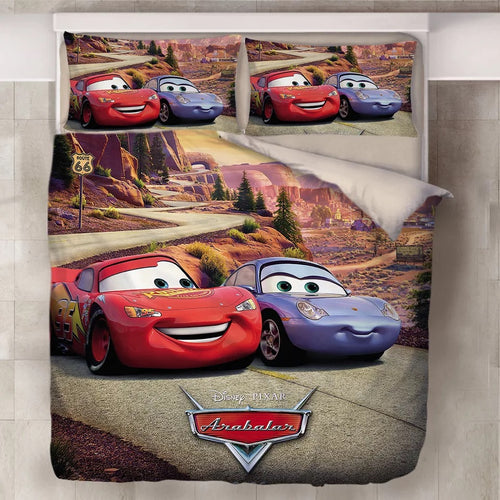 Movie Cars Lightning McQueen #14 Duvet Cover Quilt Cover Pillowcase Bedding Set Bed Line