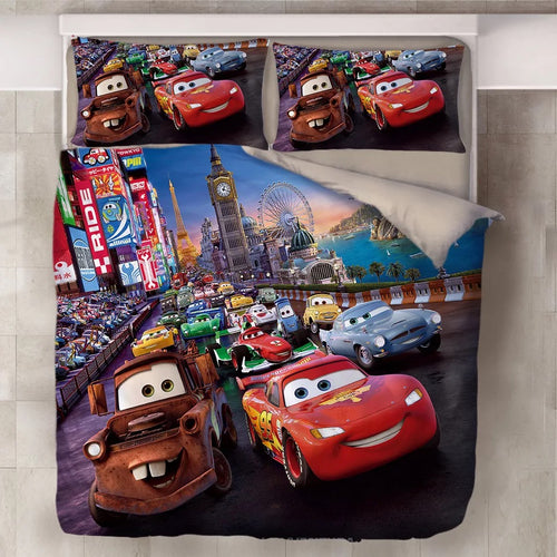 Movie Cars Lightning McQueen #16 Duvet Cover Quilt Cover Pillowcase Bedding Set Bed Line