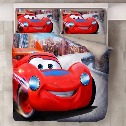 Movie Cars Lightning McQueen #17 Duvet Cover Quilt Cover Pillowcase Bedding Set Bed Line