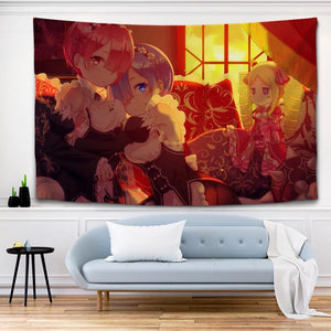 Re: Life in a Different World from Zero Rem Ram  #21 Wall Decor Hanging Tapestry Home Bedroom Living Room Decoration