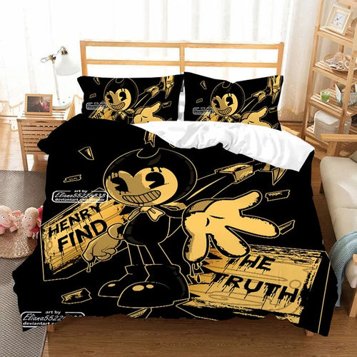 Bendy And The Ink Machine #4 Duvet Cover Quilt Cover Pillowcase Bedding Set Bed Linen Home Bedroom Decor