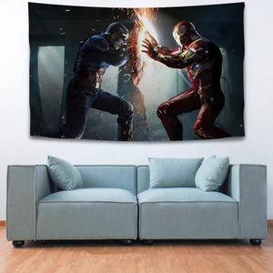 Iron Man Captain America Avengers #17 Wall Decor Hanging Tapestry Home Bedroom Living Room Decoration