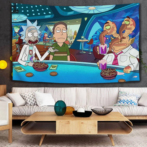 Rick and Morty #7 Wall Decor Hanging Tapestry Home Bedroom Living Room Decoration