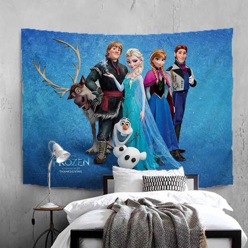 Frozen Anna Elsa Princess #12 Wall Decor Hanging Tapestry Home Bedroom Living Room Decoration