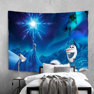Frozen Anna Elsa Princess #17 Wall Decor Hanging Tapestry Home Bedroom Living Room Decoration