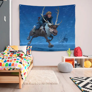 Frozen Anna Elsa Princess #27 Wall Decor Hanging Tapestry Home Bedroom Living Room Decoration