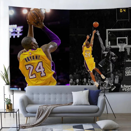 Basketball Lakers Kobe Bryant Black Mamba Basketball #4 Wall Decor Hanging Tapestry Bedspread Home Bedroom Living Room Decorations