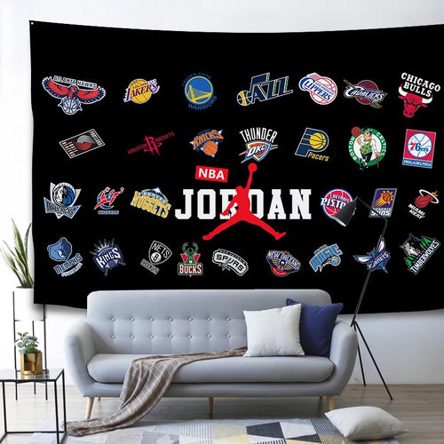 Basketball Logo Basketball #10 Wall Decor Hanging Tapestry Bedspread Home Bedroom Living Room Decorations