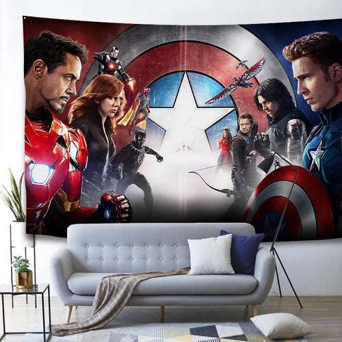 Marvel Avengers Civil War Captain America Iron Man #11 Wall Decor Hanging Tapestry Home Bedroom Living Room Decorations